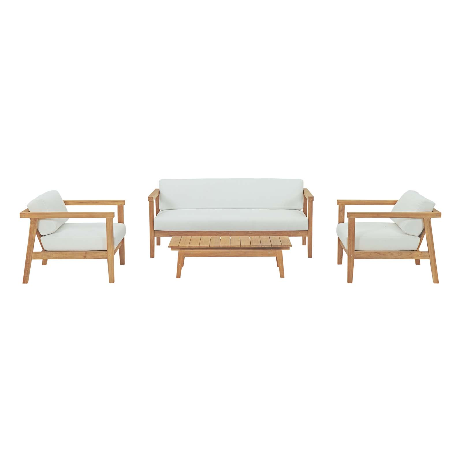 Modway Bayport 4 Piece Outdoor Patio Teak Set in Natural White
