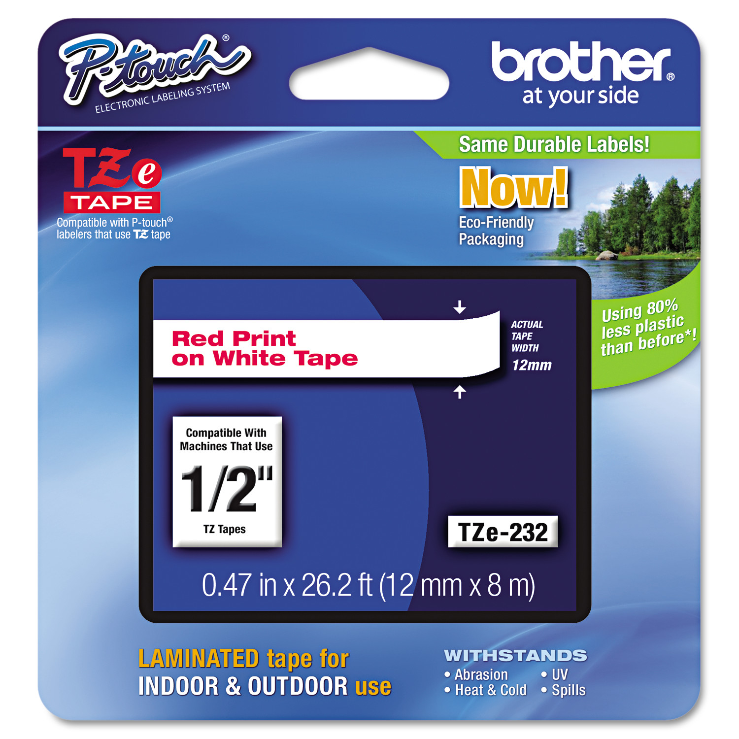 """Brother P-Touch TZe Standard Adhesive Laminated Labeling Tape, 1 2""""w, Red on White by BROTHER INTL. CORP."""