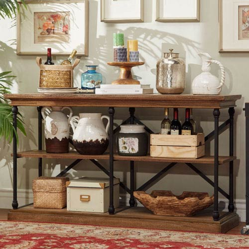 Lubeck Vintage Oak TV Stand Console by