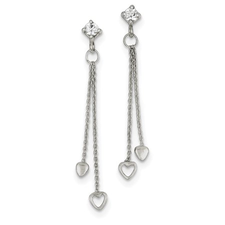 Sterling Silver & CZ Fancy Polished Heart Dangle Post Earrings QE7109 - image 2 de 2