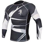 Metaru 47 Silver Long Sleeve Rashguard - Black/White