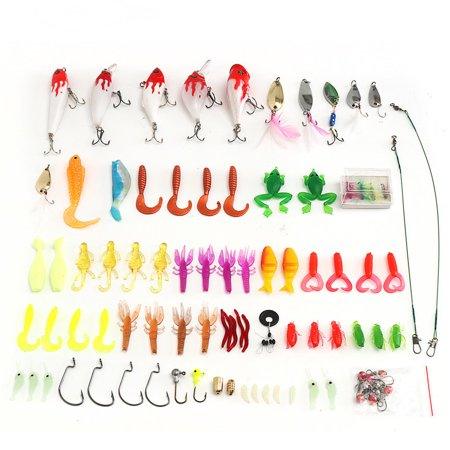 100 pcs Fishing Lures Set with Tackle Box, Include Frog Minnow Popper Pencil Crank Spoon Spinner Maggot Shrimp Baits Swivels for Freshwater Trout Bass thumbnail