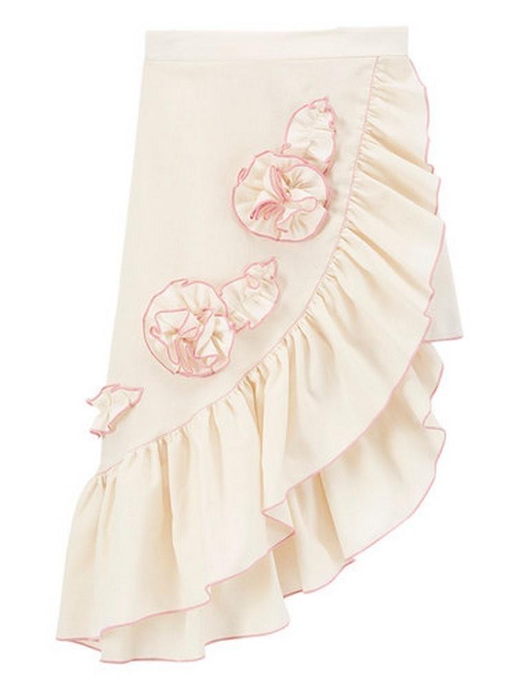Baby Girls Ivory Pink Rosette Accent Asymmetric Hem Ruffle Skirt 1T