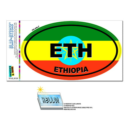 Image of Ethiopia Country Flag - ETH Euro Oval SLAP-STICKZ(TM) Premium Sticker