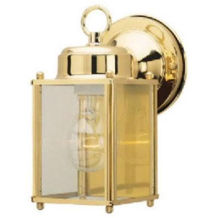 - Single Light Square Wall Lantern Polished Solid Brass Finish Only One