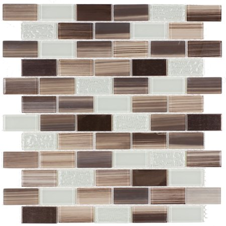 MTO0253 Classic Brick Brown Light Green Beige Glossy Glass Metal Mosaic (Brick Glass Mosaic Tile)