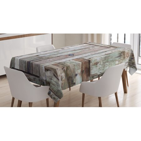 Rustic Tablecloth, Old Rustic Barn Door Cottage Country Cabin Theme Rural Mystic Entrance of Home, Rectangular Table Cover for Dining Room Kitchen, 52 X 70 Inches, Warm Taupe Cocoa, by Ambesonne - Rustic Table Cloth
