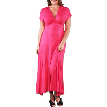 5964ef68ac6 24 7 Comfort Apparel - Women s Plus Faux Wrap Maxi Dress - Walmart.com