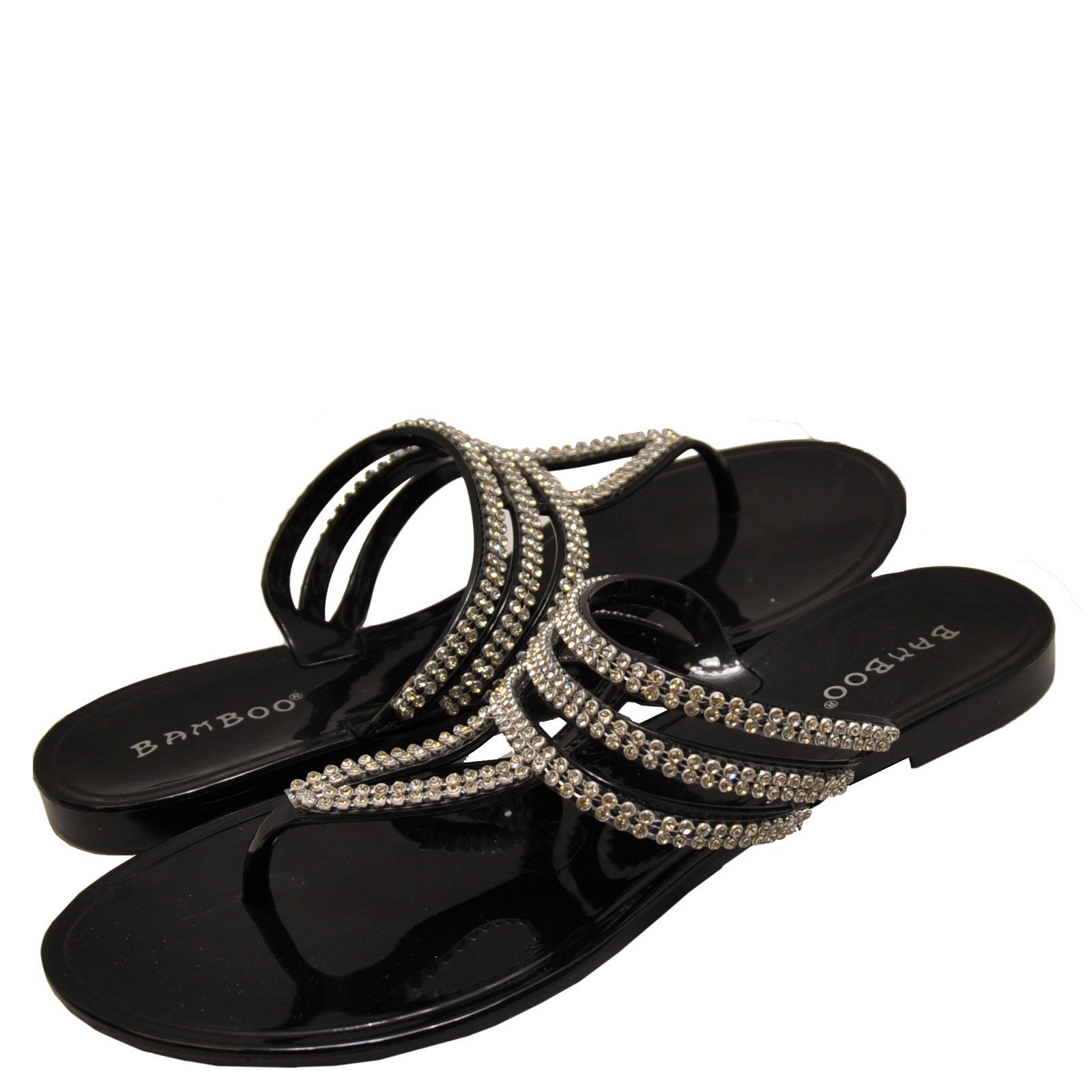 Bamboo Women's Claire 23 T-Strap Embellished Jelly Sandals