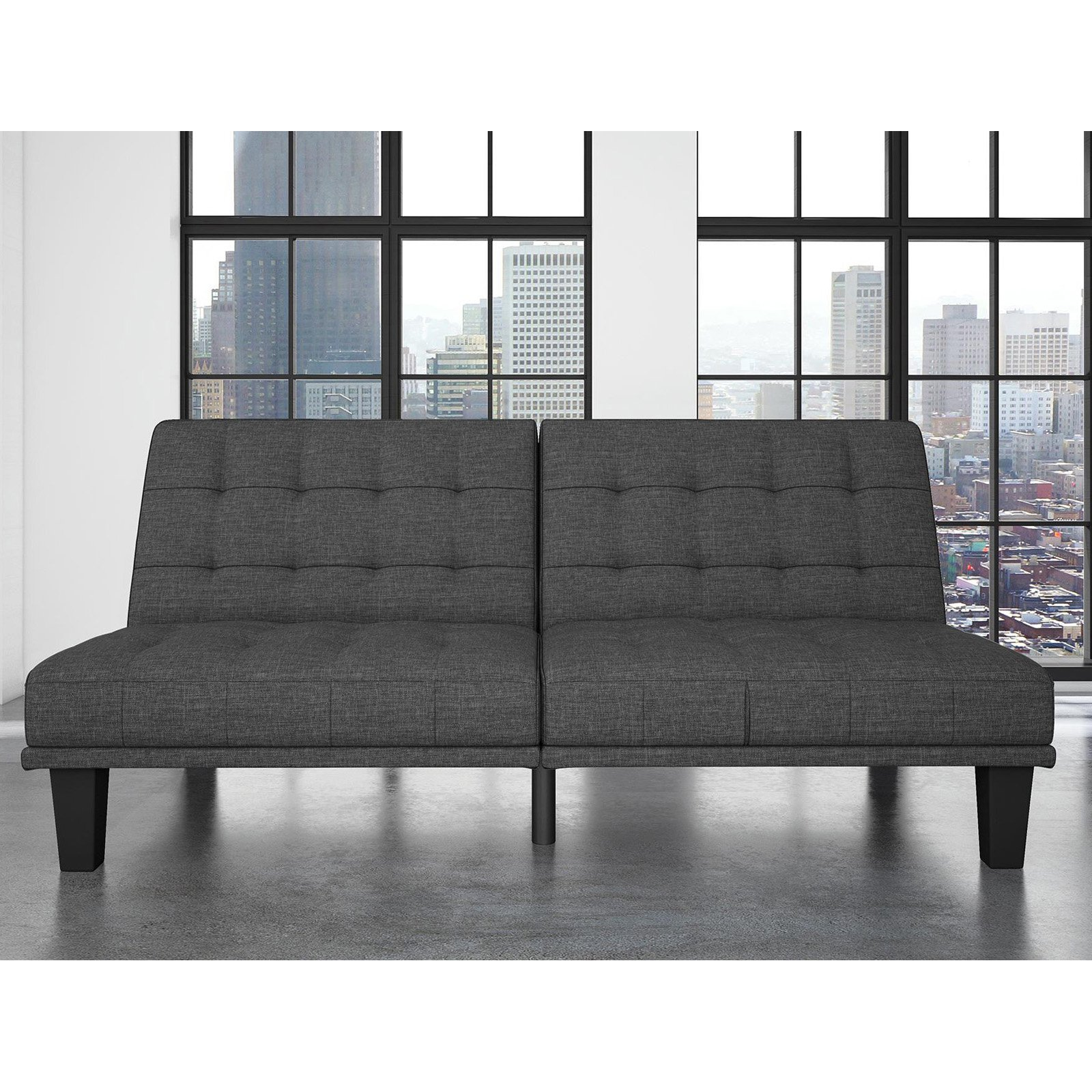 DHP Dexter Fabric Futon and Recliner Lounger Multifunctional Sofa