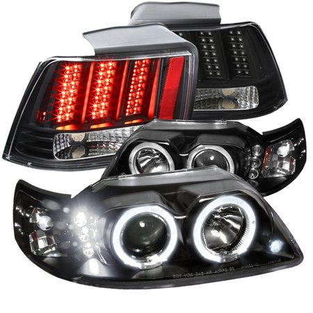 Spec-D Tuning 1999-2004 Ford Mustang Dual Halo Black Projector Headlights + Sequential Led Tail Lights (Left + Right) 1999 2000 2001 2002 2003 2004