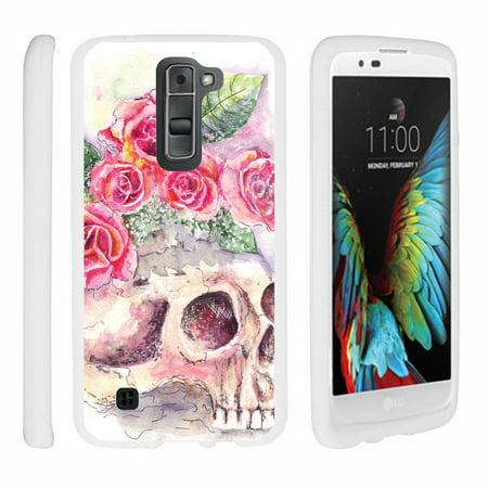 Lg K7  Lg Treasure  Lg Tribute 5   Snap Shell  White  Hard White Plastic Case With Non Slip Matte Coating With Custom Designs   Flower Skull