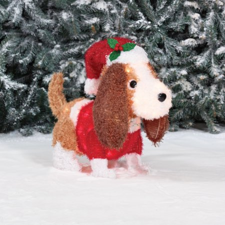 holiday time light up fluffy spaniel christmas decoration