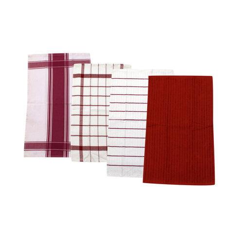 Mainstays 4pk Kitchen Towel Set, Red Sedona