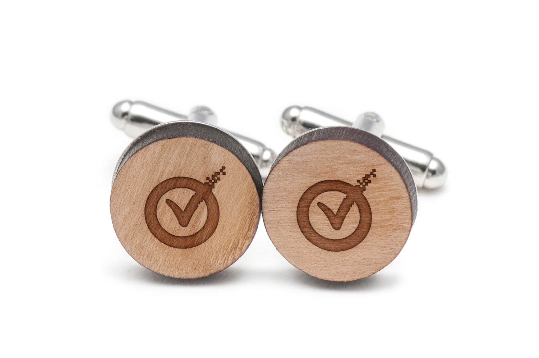 Symantec Cufflinks, Wood Cufflinks Hand Made in the USA by BigSpool Distributors