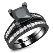 Noori Collection Noori 14k Black Gold 2 1/2ct TDW Certified Princess-cut Black Diamond Engagement Ring Bridal Set