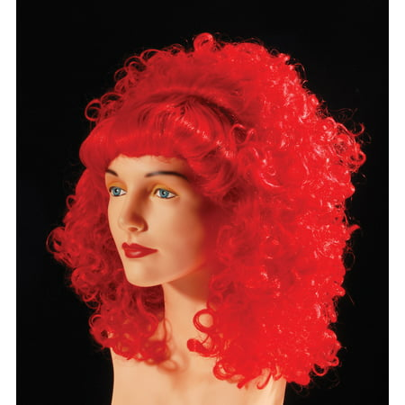 Star Power Curly With Bangs Sassy Rockstar Wig, Red, One - Cheap Red Wig