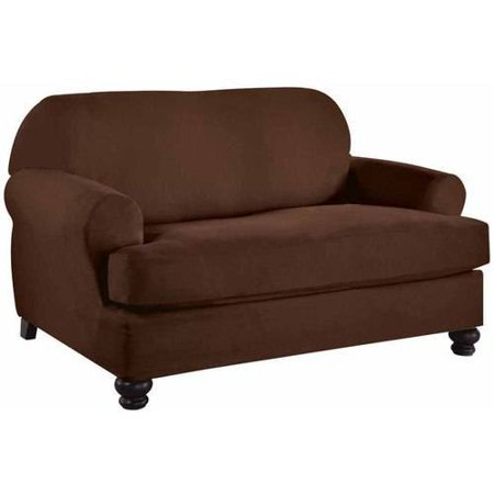 Serta Stretch Fit Microsuede Slipcover Loveseat 2 Piece T Cushion