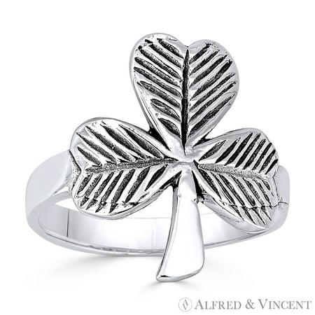 Shamrock Ring (Irish Shamrock 3-Leaf Clover Irish / Celtic Charm Ring in Oxidized .925 Sterling)