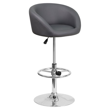 Flash Furniture Contemporary Rounded Back Vinyl Adjustable Barstool with Chrome Base