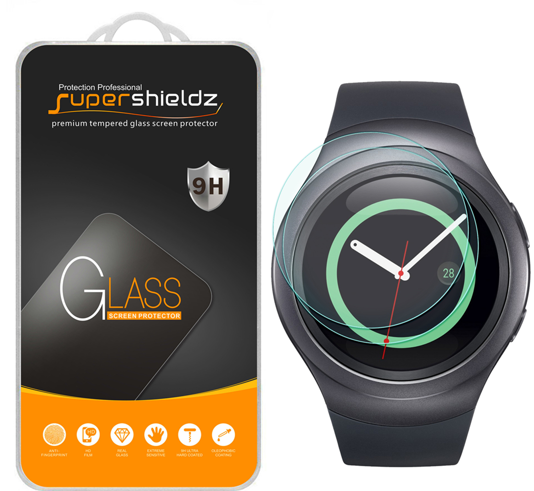 [2-Pack] Supershieldz Samsung Gear S2 Tempered Glass Screen Protector, Anti-Scratch, Anti-Fingerprint, Bubble Free