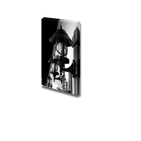 Canvas Prints Wall Art - Wrought Iron Street Lamps Old-Fashioned on Building Wall outdoors - 36