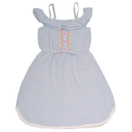 (Dollhouse Girls Blue Pinstripe Off-Shoulder Ruffle Casual Dress)