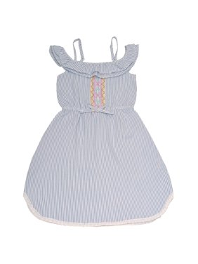 95d044176df2c Product Image Dollhouse Girls Blue Pinstripe Off-Shoulder Ruffle Casual  Dress