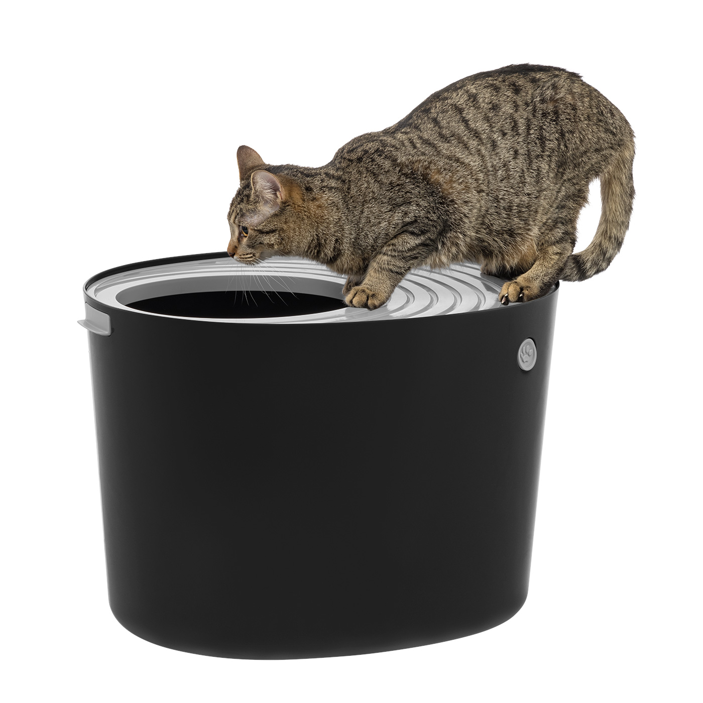 Iris Top Entry Cat Litter Box Dark Gray White Walmart Com Walmart Com