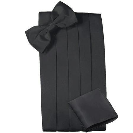 Mens Satin Cummerbund Bowtie Hanky set, 4 Pleat, Large Variety of Solid Colors Available, by Platinum Hanger (Black)