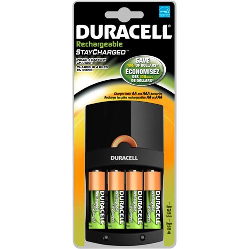 Duracell Value Charger with AA StayCharged Batteries 4 Count