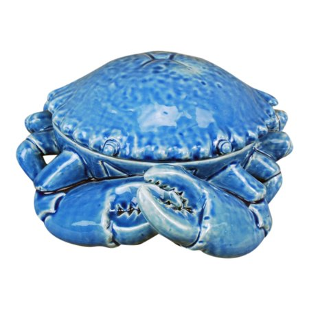 Big Blue Crab Shaped Dish Covered Serving Bowl 11 75 Inches Ceramic