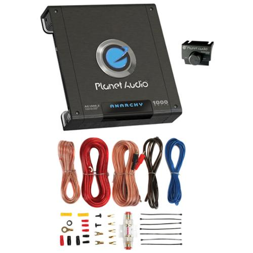 PLANET AUDIO AC1000.2 1000W 2 Channel Car Amplifier Amp AC10002 + 8 Ga Amp Kit