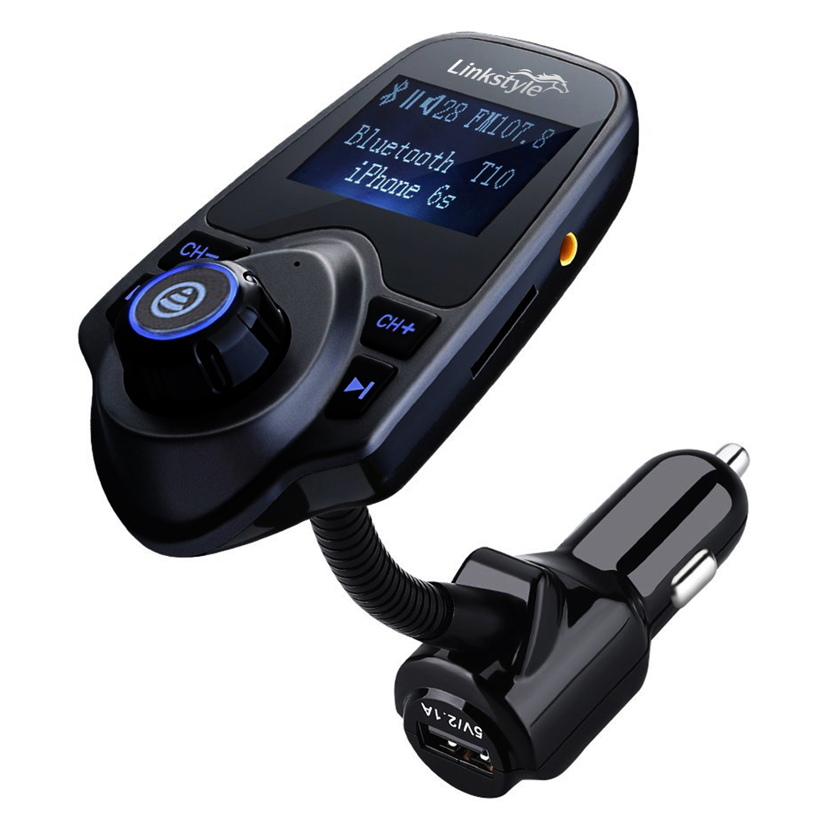TSV Hand-Free Bluetooth Car Kit FM Transmitter MP3 Player Wireless Radio Adapter USB Charger w/TF