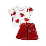 Wayren USA 2PCS Summer Kids Baby Girls Clothes Love Short Sleeve Top T-Shirt Leather Skirt Valentine Outfit