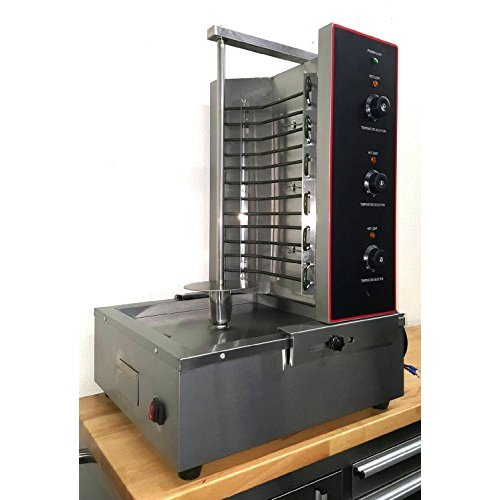 Gyro Kebob Electric Broiler Vertical Spit Grilled Skewer 34 Inch 6KW Heater Rotisserie Countertop Stainless Steel Commercial Model WPRE03