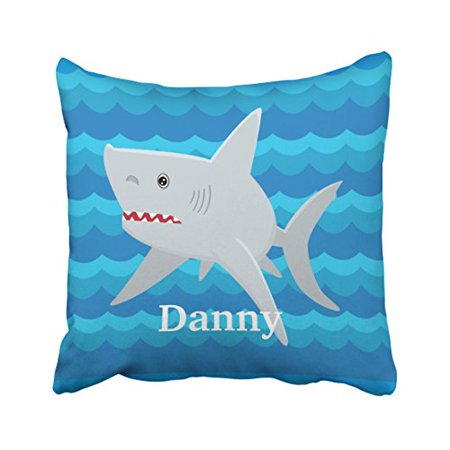 Custom For Kids (WinHome Square Throw Pillow Covers Vintage Kids Shark Lover Waves Custom For Boat Gift Pillowcases Polyester 18 X 18 Inch With Hidden Zipper Home Sofa Cushion Decorative)