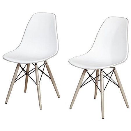 Tone Solid Wood (Modern Retro Two Tone Plastic Curved Seat Set of 2 Dining Chair with Solid Wood and Metal Legs - Includes Modhaus Living Pen )