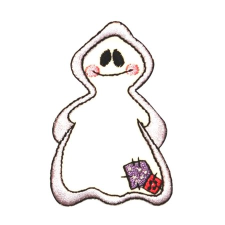 ID 0878 Bashful Ghost Patch Halloween Costume Spirit Embroidered IronOn Applique