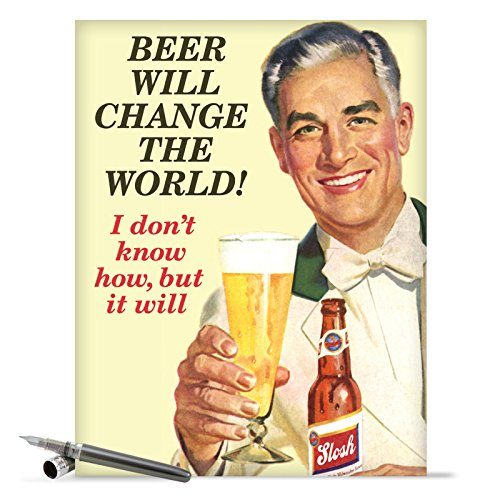 "J9721 Jumbo Funny Birthday Greeting Card: 'Beer Will Change The World' with Envelope (Jumbo Size: 8.5"" x 11"")"