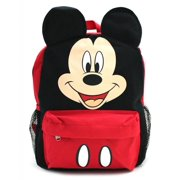 "12"" Disney Mickey Mouse Black and Red Small School Backpack with Ears"