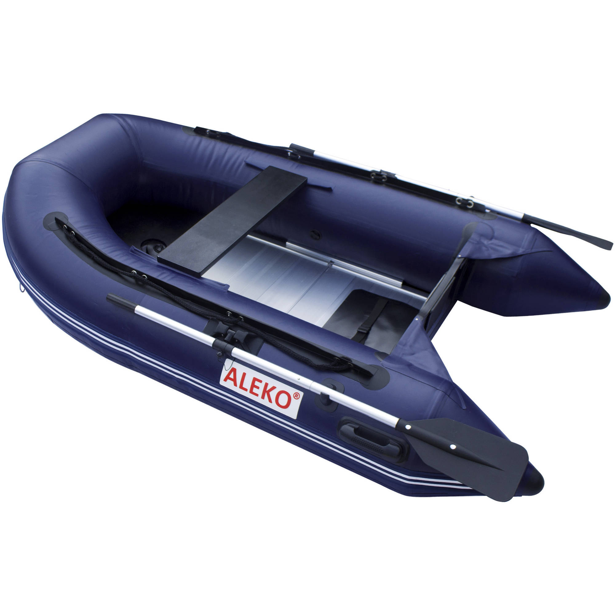 "ALEKO Boat 8'4"" Inflatable Boat with Aluminum Floor, Blue"