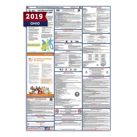 Federal Minimum Wage Labor Law Poster (2019 Ohio State and Federal Labor Law Poster (Laminated) )