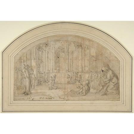 "Saint Antoninus Kneeling before the Crucifix in Orsanmichele Florence Poster Print by Bernardino Poccetti (Italian San Marino di Valdelsa 1548  ""1612 Florence) (18 x - Zack Marino Wall"