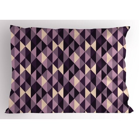 Geometric Pillow Sham Abstract Stylized Triangles with Dark and Pale Color Shades, Decorative Standard Size Printed Pillowcase, 26 X 20 Inches, Ivory Dark Purple Lilac Plum, by Ambesonne ()