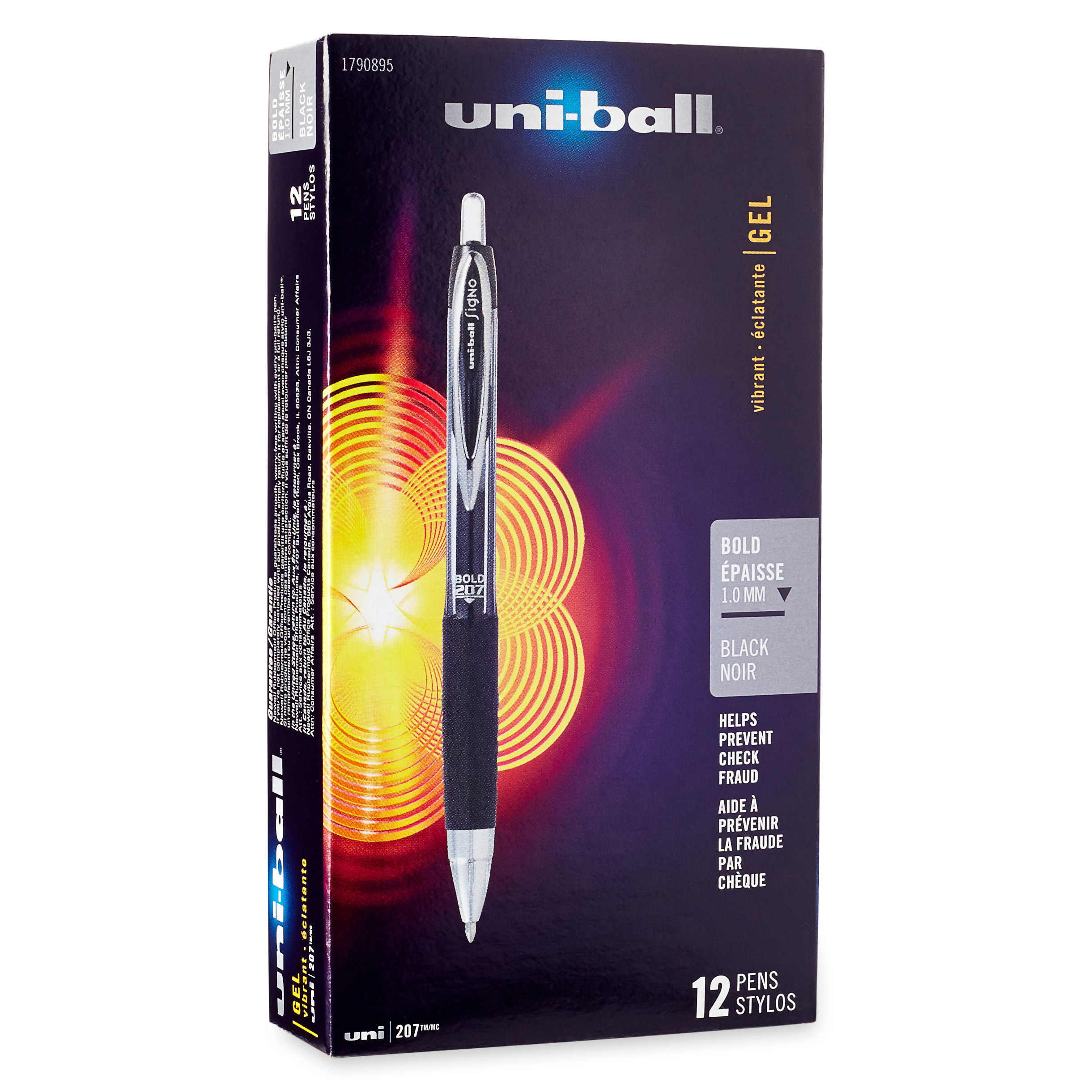 uni-ball Signo 207 Retractable Gel Pen, Black Ink, 1mm, Dozen