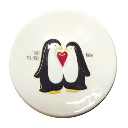 Penguin Plates - Ganz Penguin Ceramic Plates (I Love You More)