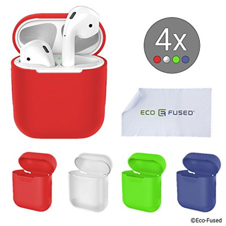 Eco-Fused replacement Protective Covers compatible with Apple AirPods Case - 4-Pack (Red, Blue, Green and Transparent) - Silicone Skins - Protects the Case of Your AirPods from Scratches and