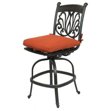 Comfort Care CC01D-TC Cast Aluminum Armless Designer Counter Outdoor Barstool with Sunbrella Terra Cotta Cushion - 47.4 x 20.9 x 26.6 in. - Set of 2 ()