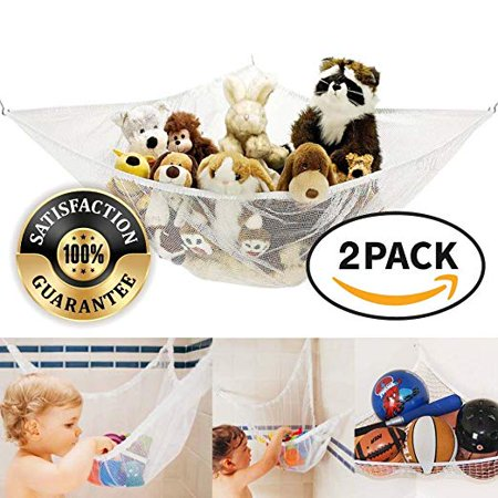 Eutuxia Stuffed Animal Hammock, Mesh Hanging Net for Toys, Large Storage and Organizer for Kid's Room and Bathtub [2 Pk] - Wedding Stuff For Cheap